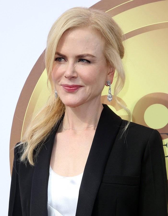 Nicole Kidman wearing a silk dress and blazer from Louis Vuitton at the Gold Meets Golden Party in Los Angeles on January 6, 2018