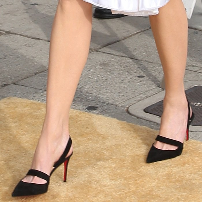 "Nicole Kidman wearing Christian Louboutin's black suede pointy-toe ""Actina"" pumps"