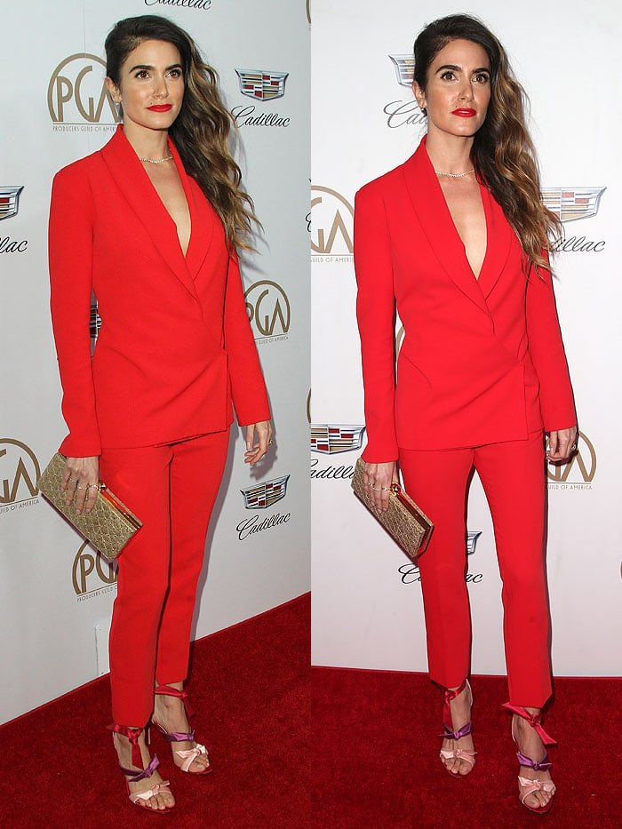 "Nikki Reed in an impeccably tailored, bold red Clarité Fall 2018 ""Alya"" suit"