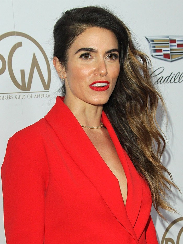 Nikki Reed In Red Power Suit And Alexandre Birman Lolita