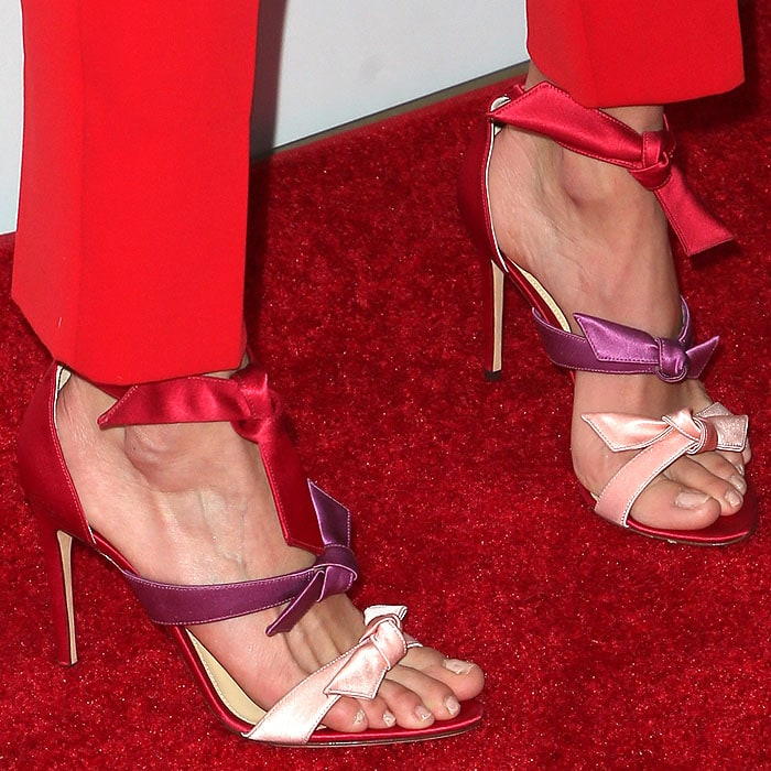 Details of the Alexandre Birman 'Lolita' bow sandals on Nikki Reed.