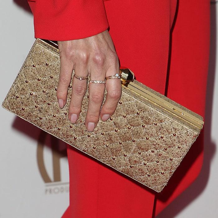 Nikki Reed'sSimran Rihal 'Estee' clutch up close.