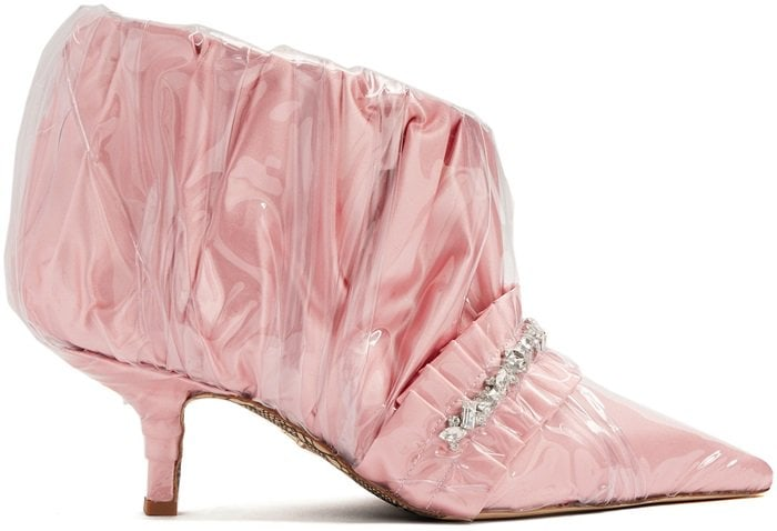 Paciotti By Midnight Crystal-embellished ruched satin ankle boot in pink