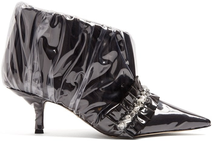 Paciotti By Midnight Crystal-embellished ruched satin ankle boot in black