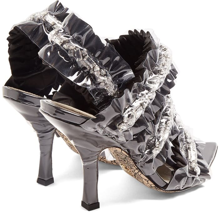 Paciotti By Midnight Crystal-embellished satin sandals