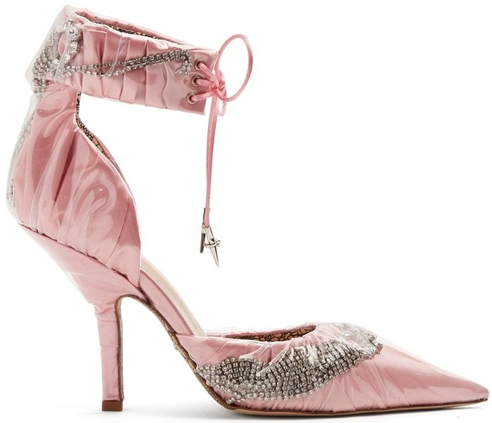Paciotti By Midnight Crystal-embellished ankle-tie satin pumps,