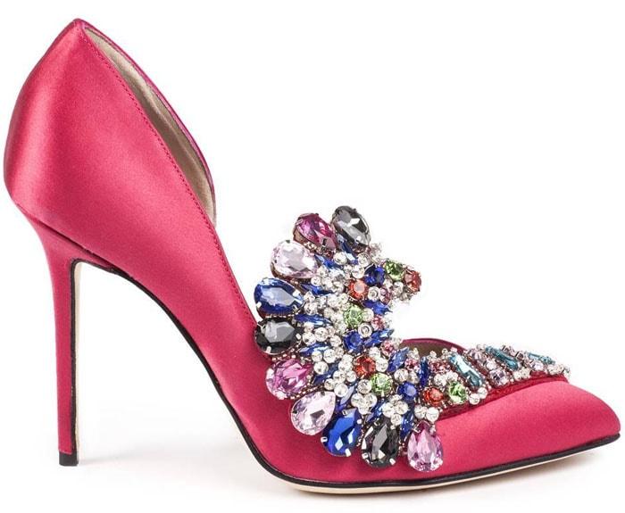"Paula Cademartori ""Iris"" Crystal-Embellished Satin D'Orsay Pumps"