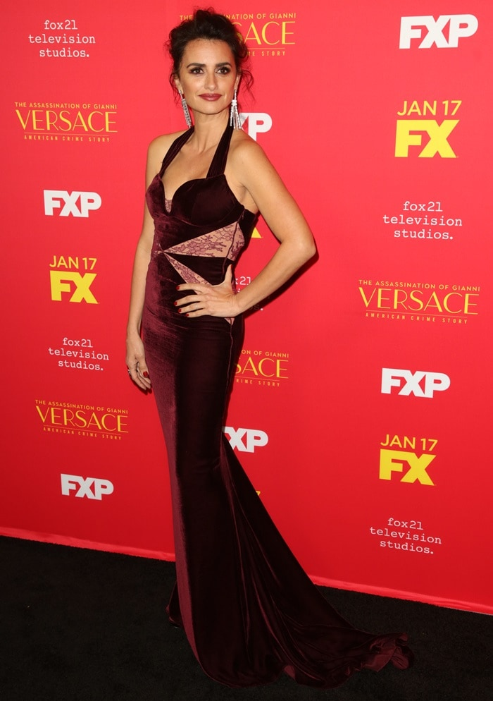 Penelope Cruz wearing a custom Stella McCartney velvet gown at the premiere of 'American Crime Story: The Assassination of Gianni Versace' at ArcLight Hollywood in Hollywood on January 8, 2018