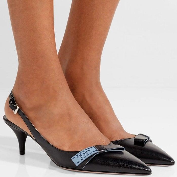 Prada Bow-Embellished Leather Slingback Pumps