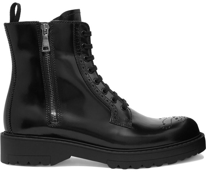 Brogue-Inspired Prada Leather Ankle Boots