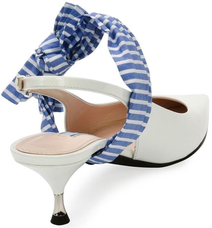 142944857142 Prada's Printed Bow-Embellished Leather Slingback Pumps