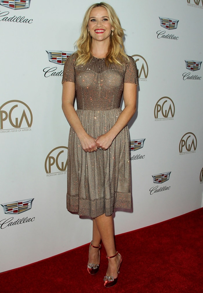 Reese Witherspoon wearing a Dolce & Gabbana dress at the 2018 Producers Guild Awards held at the Beverly Hilton Hotel in Beverly Hills, California, on January 20, 2018