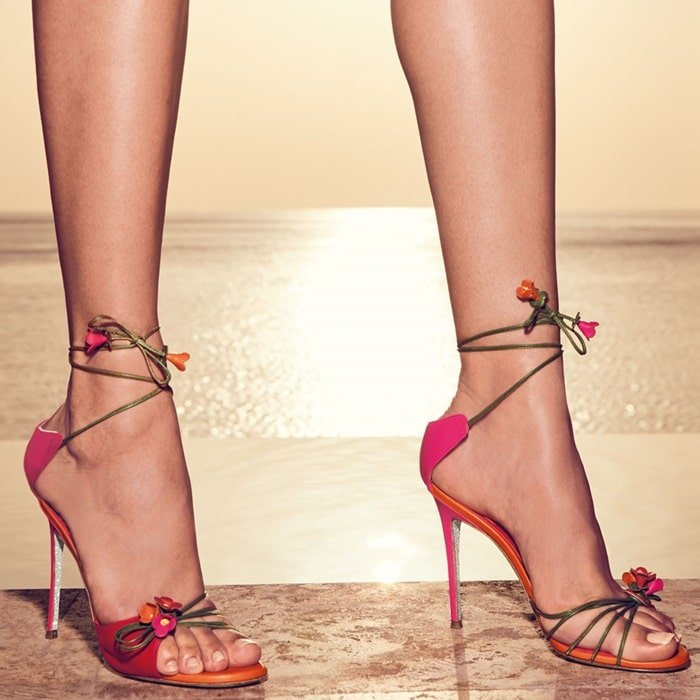 Rene Caovilla Flower Self-Tie 105mm Sandals