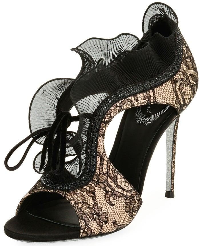 Rene Caovilla Lace Beaded Ruffle Sandal