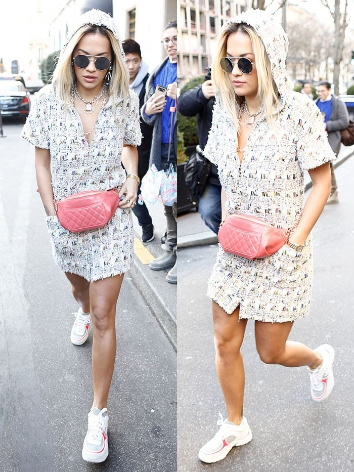 Rita Ora wore her dad sneakers with a hooded mini-dress constructed out of Chanel's classic tweed fabric