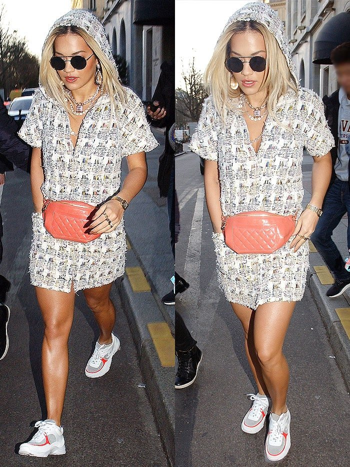 Rita Ora toted a coral Chanel quilted fanny pack