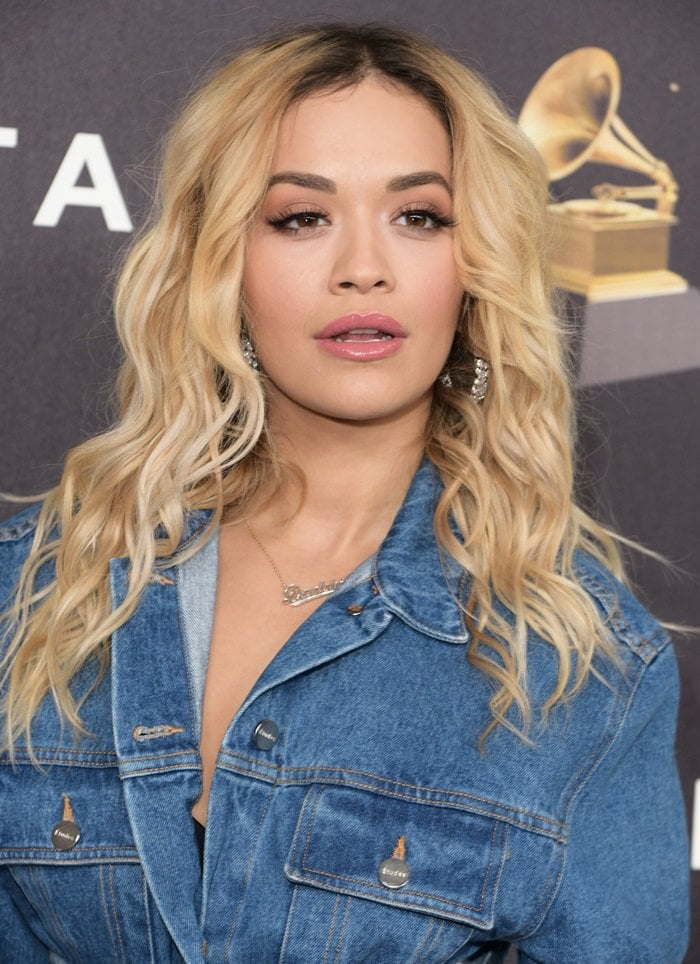 Rita Ora wearing a denim-on-denim look from the Etudes Spring 2018 collection at The Bowery Hotel in New York on January 25, 2018