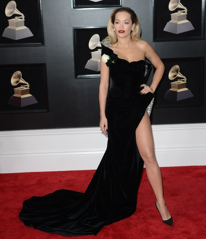 Rita Ora wearing a sultry black Ralph & Russo Spring 2018 Couture gown at the 2018 Grammy Awards held at Madison Square Garden in New York City on January 28, 2018