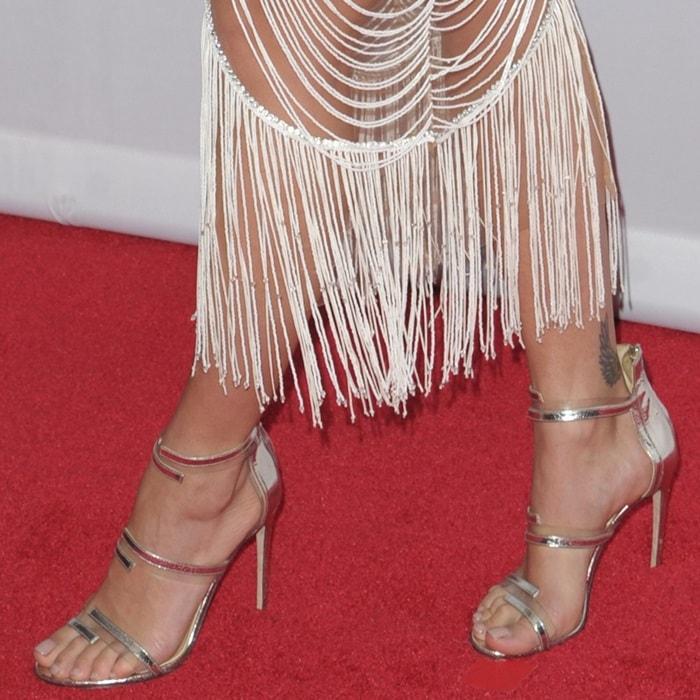Rita Ora showing off her feet in Sergio Rossi 'Karen' sandal heels