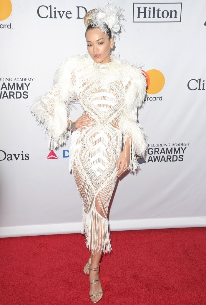 Rita Ora wearing a Zuhair Murad Fall 2017 Couture dress on the red carpet as she arrives at Clive Davis' annual Pre-Grammys Party in New York City on January 27, 2018
