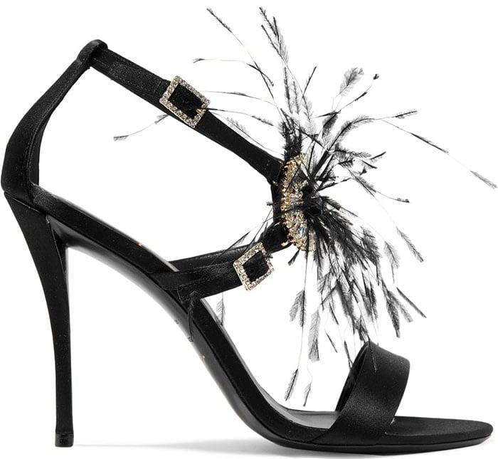 "Roger Vivier ""Sin"" Feather and Crystal-Embellished Sandals"