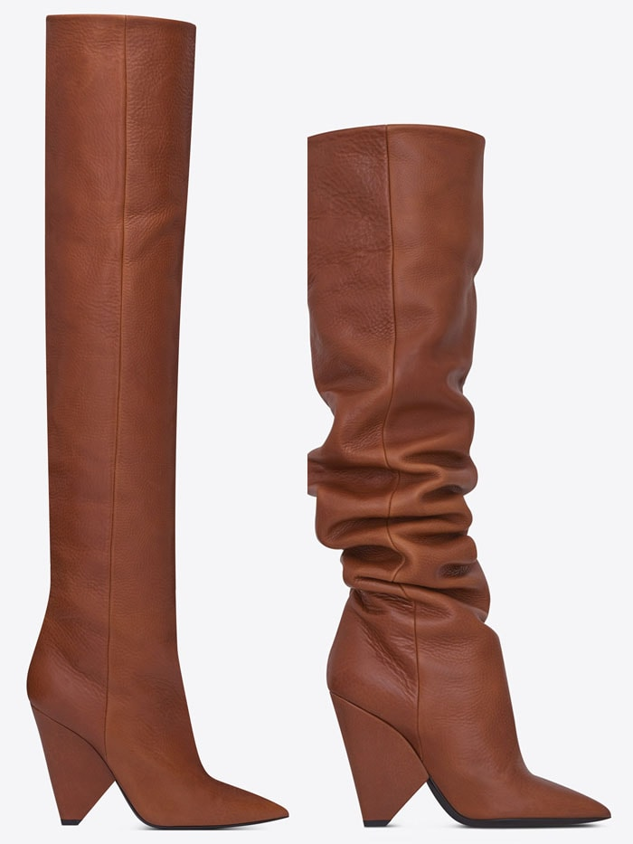 Saint Laurent 'Niki' 105 Thigh-High Boots in Cognac Leather