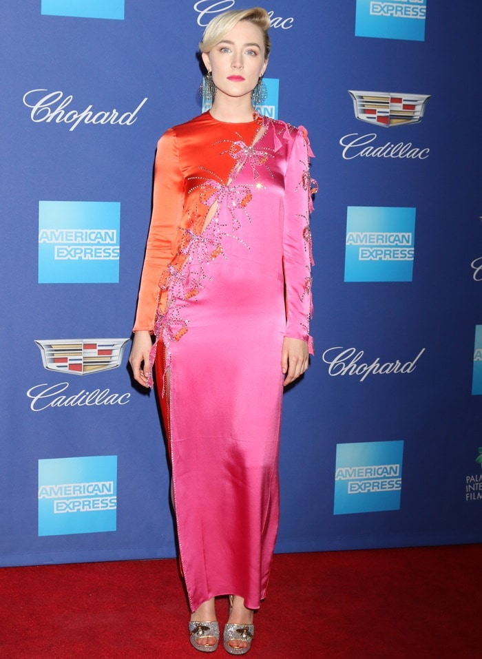 Saoirse Ronan wearing an embellished dress from the Gucci Spring 2018 collection at the 2018 Palm Springs International Film Festival Awards Gala on Tuesday in Palm Springs, California, on January 2, 2018