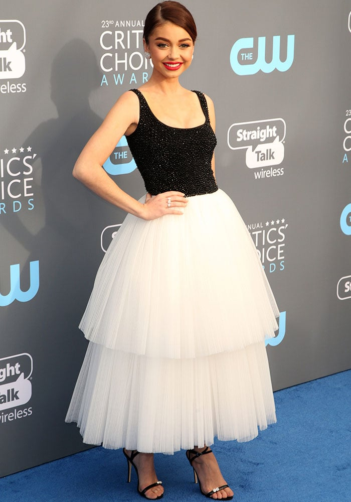 Sarah Hyland fulfills all our ballerina goals in a beautiful two-piece tulle look by Naeem Khan