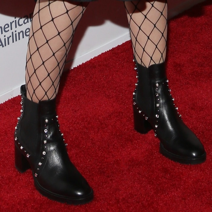 Sarah Silverman wearing studded booties by Jimmy Choo</em>