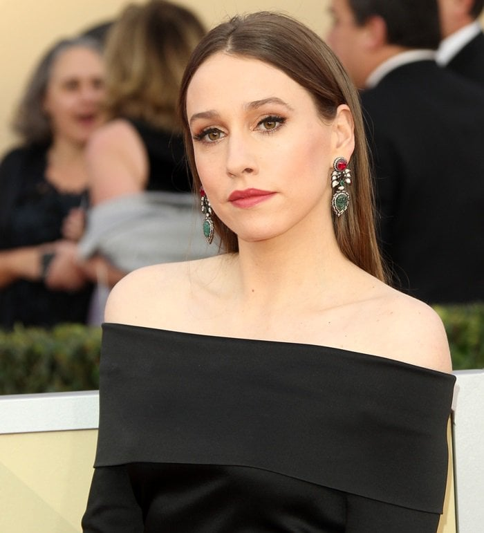 Sarah Sutherland goes for understated in a black off-shoulder gown at the 2018 Screen Actors Guild Awards at the Shrine Auditorium in Los Angeles on January 21, 2018