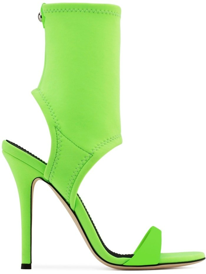 Saturated green calf leather and neoprene open toe 'Agnes' boots