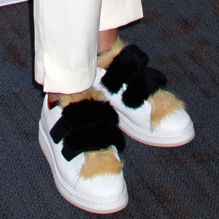 Sharon Stone's Zara leather sneakers with faux-fur trim on the tongues and hook-and-loop straps