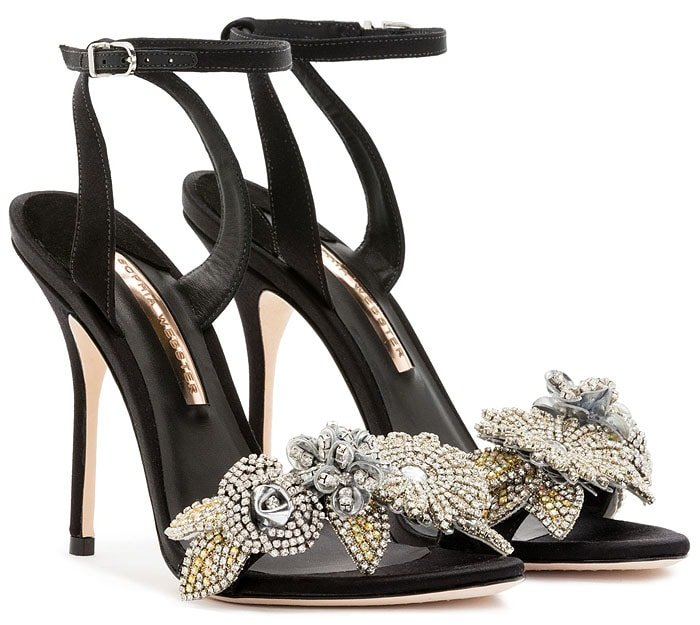 Sophia Webster Lilico crystal-flower embellished sandals in black satin