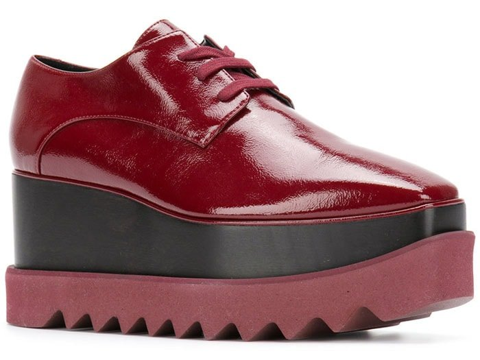 "Stella McCartney ""Elyse"" burgundy-patent platform oxfords"