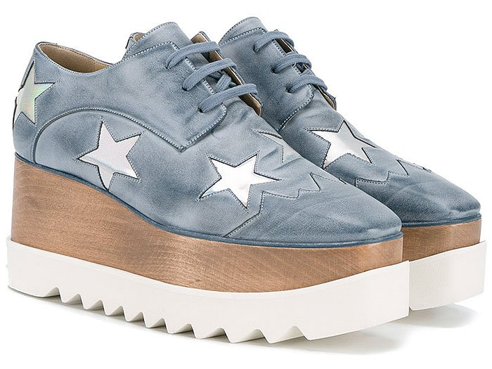 "Stella McCartney ""Elyse"" star-detailed distressed-leather platform oxfords"