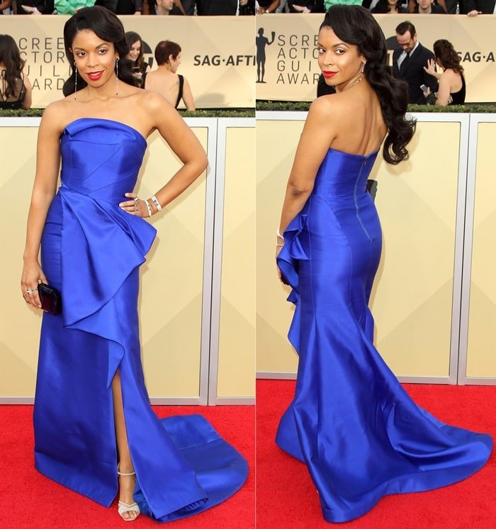 Susan Kelechi Watson is stellar in a blue strapless gown by Rubin Singer at the 2018 Screen Actors Guild Awards at the Shrine Auditorium in Los Angeles on January 21, 2018