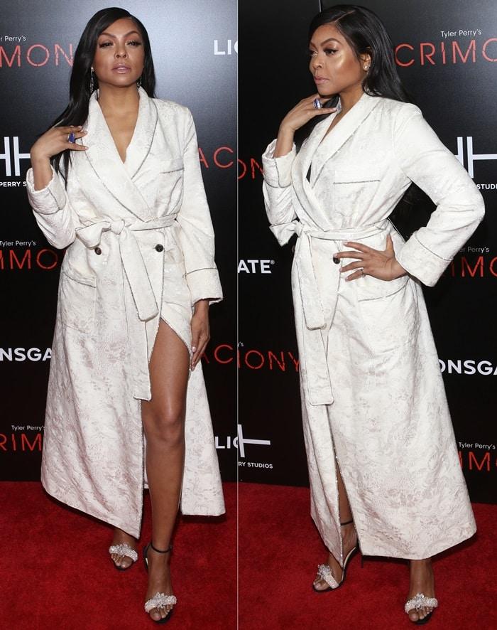 Taraji P. Hensonshowed off some leg in a bathrobe fromRoberto Cavalli and Kimberly McDonald jewelry