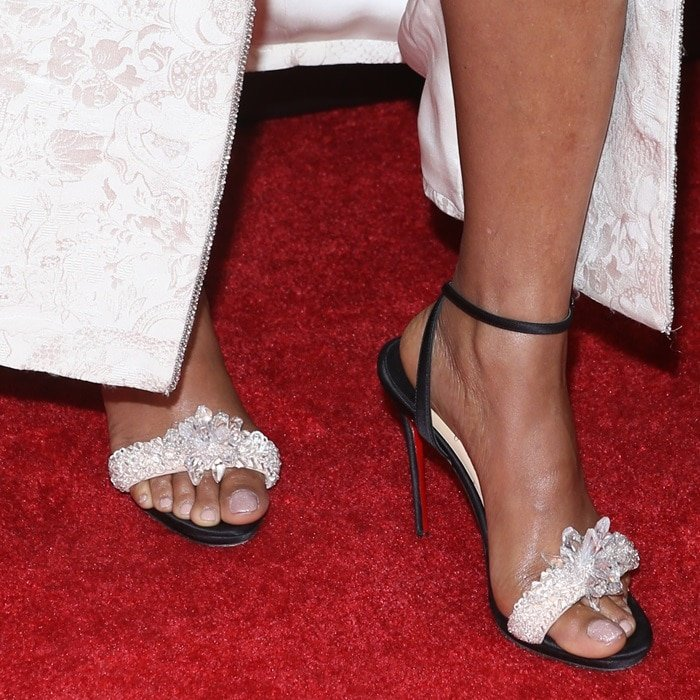 Taraji P. Henson's feet in Christian Louboutin crystal-embellished sandal in patent leather