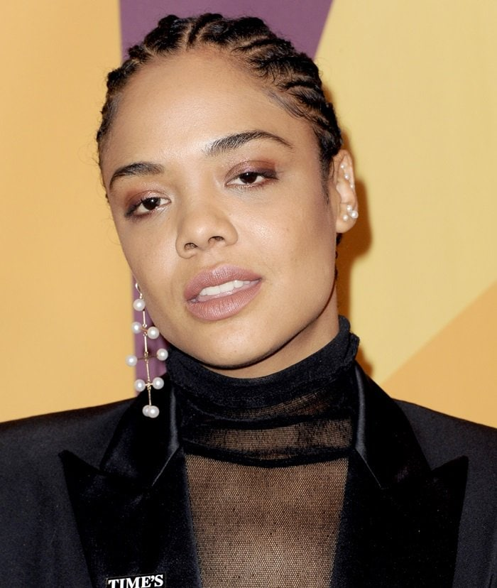 Tessa Thompson accessorized with Mateo earrings