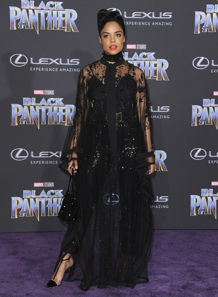 Tessa Thompson donned an Elie Saab dress at the 'Black Panther' premiere at the Dolby Theatre in Hollywood on January 29, 2018