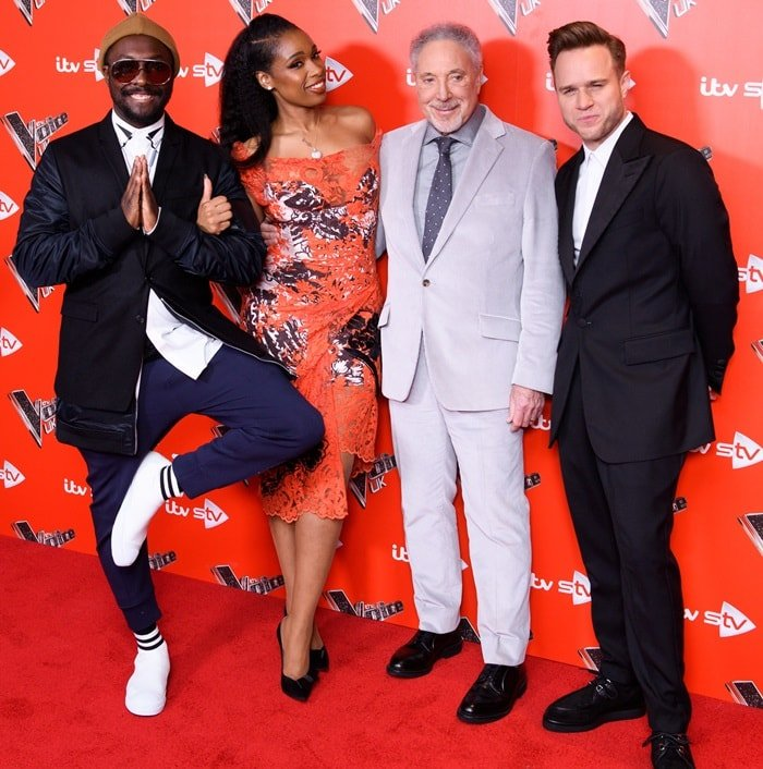 will.i.am, Jennifer Hudson, Sir Tom Jones, and Olly Murs at their The Voice UK Launch photo call held at Ham Yard Hotel in London, England, on January 3, 2018