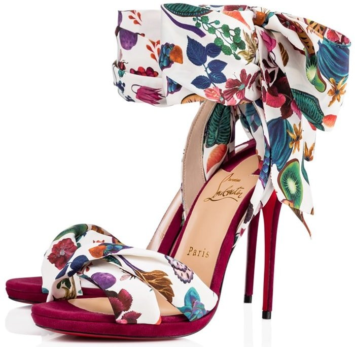 Christian Louboutin's Scarf-Inspired 'Tres Frais' Colorful Crepe Satin/Lurex Sandals