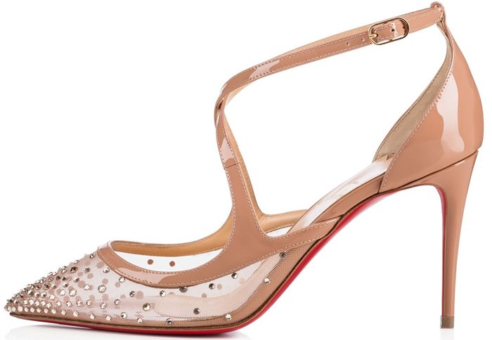 'Twistissima Strass' Ankle-Strap Pumps in Voile Patent Leather