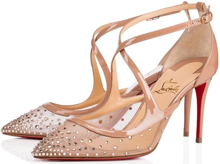 Christian Louboutin's beige mesh and patent leather Twistissima ankle-strap pumps are embellished with Strass crystals