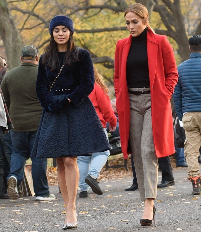 Jennifer Lopez and Vanessa Hudgens filming their new movie 'Second Act' in New York City on December 4, 2017