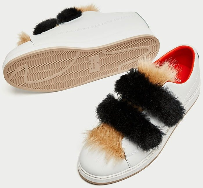 Zara Faux-Fur-Trimmed Leather Velcro-Strap Sneakers