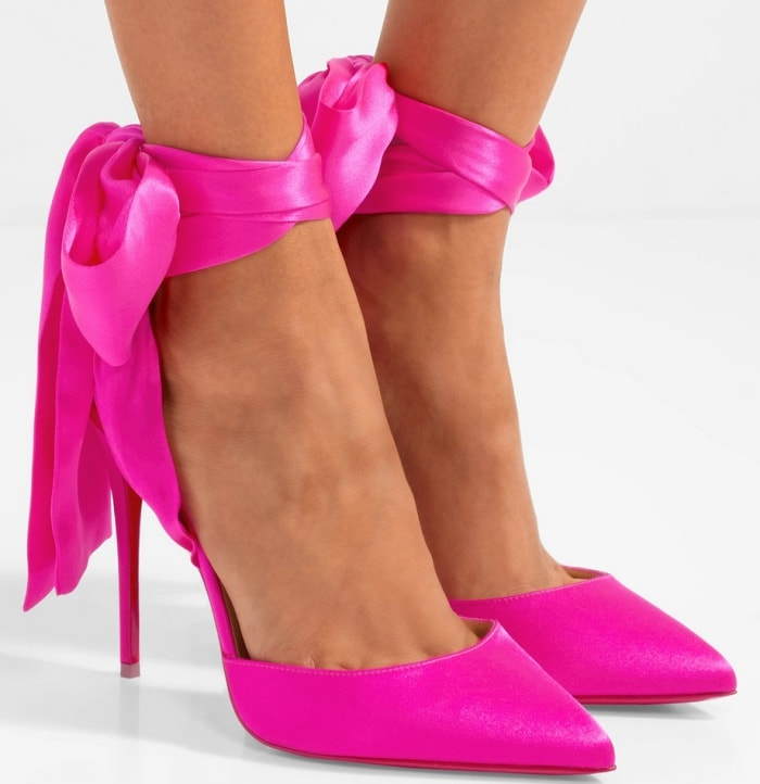 "Christian Louboutin ""Douce du Desert"" pumps in hot pink satin-crepe"