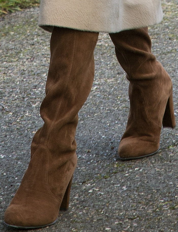 "Meghan Markle wearing Stuart Weitzman ""Hiline"" boots for the Christmas Day church service at Sandringham"