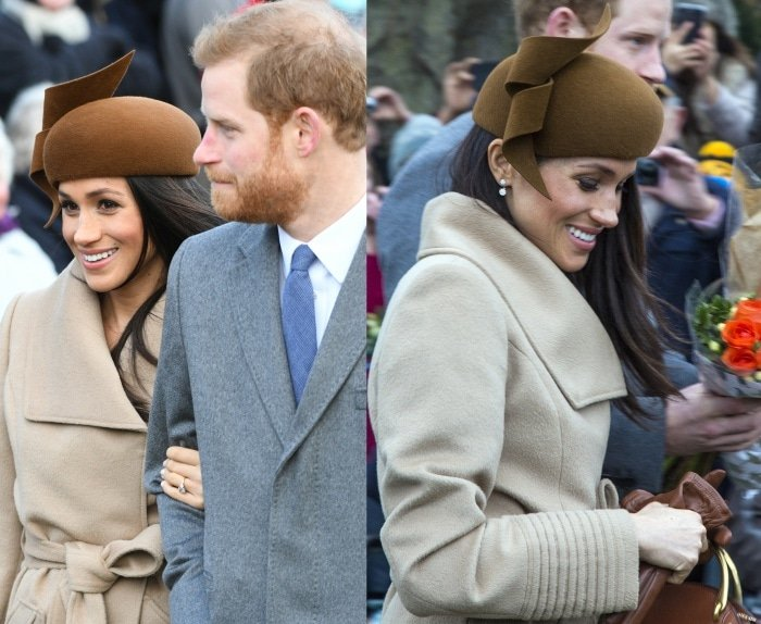 Meghan Markle with Prince Harry for the Christmas Day church service at Sandringham