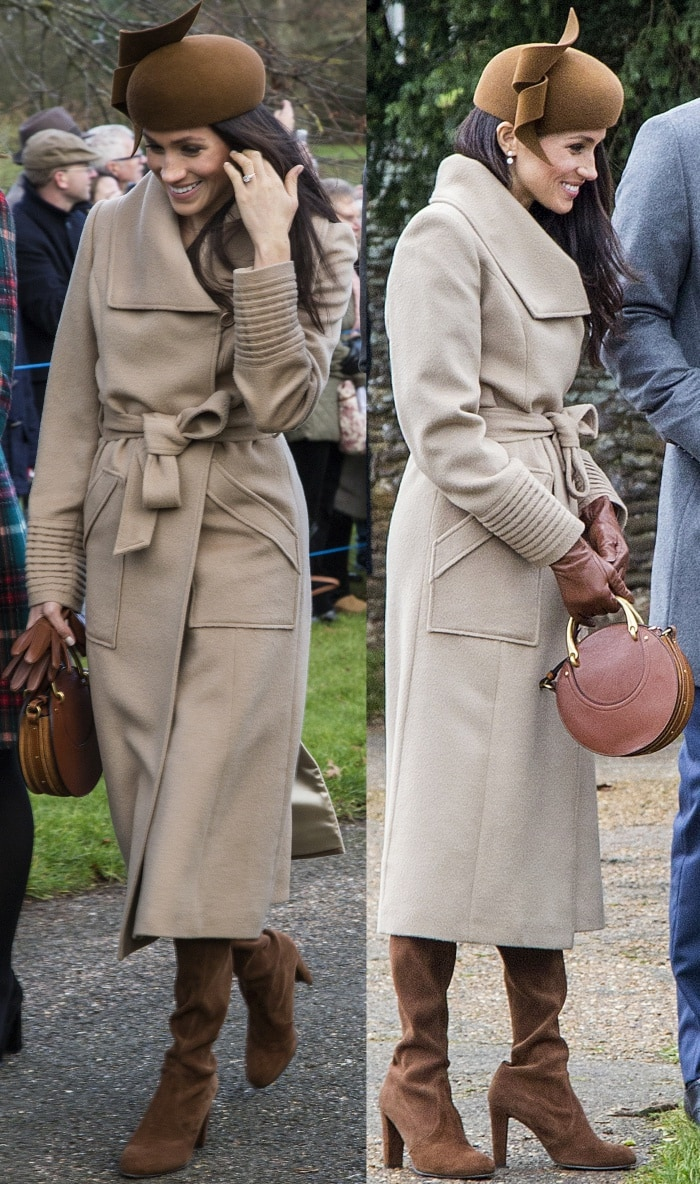 "Meghan Markle wearing a Sentaler coat, a Club Monaco dress, a Philip Treacy hat, and Stuart Weitzman ""Hiline"" boots for the Christmas Day church service at Sandringham"